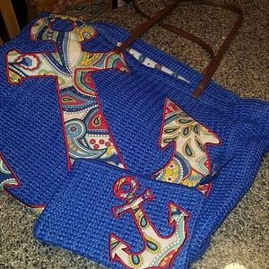 Vera Bradley anchor tote with coin wallet pouch